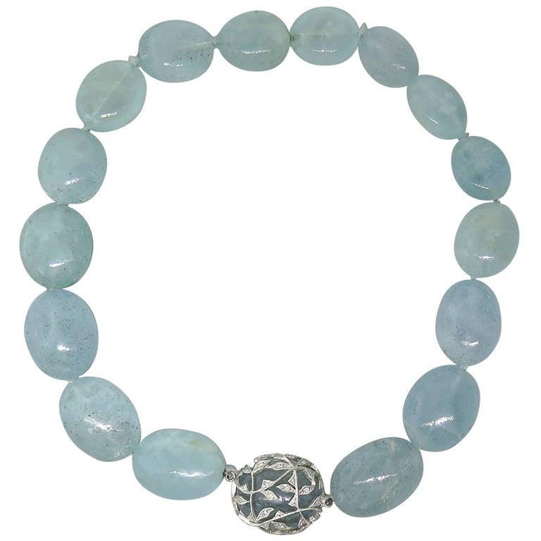 Cathy Waterman Aquamarine Bead Diamond Platinum Necklace