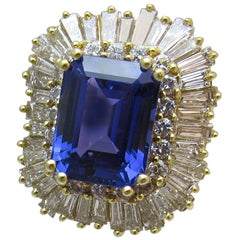 10.93 carat emerald shape Tanzanite Diamond Gold Ring