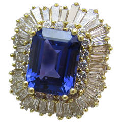 10.93 carat emerald shape Tanzanite Diamond Gold Ring
