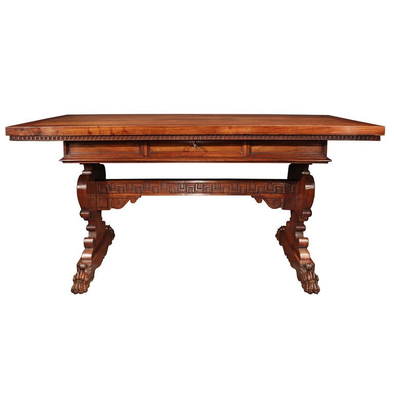 Italian 19th Century Renaissance Style, Richly Carved Walnut Trestle Table