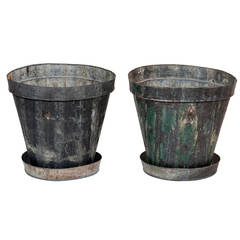 Pair of Large Vintage Steel Cache Pots with Saucers