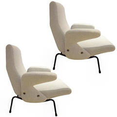 Pair of Mid-Century Delfino Club Chairs by Erberto Carboni