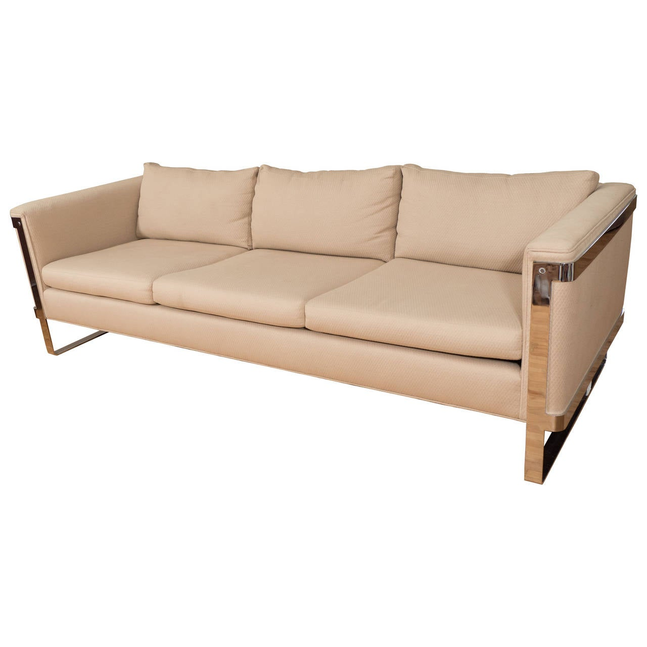 Selig Midcentury Sofa with Chrome Plate Frame For Sale