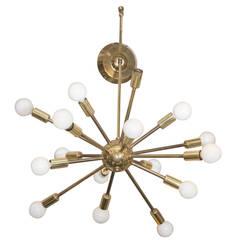 Midcentury Atomic Sputnik Chandelier in Brass