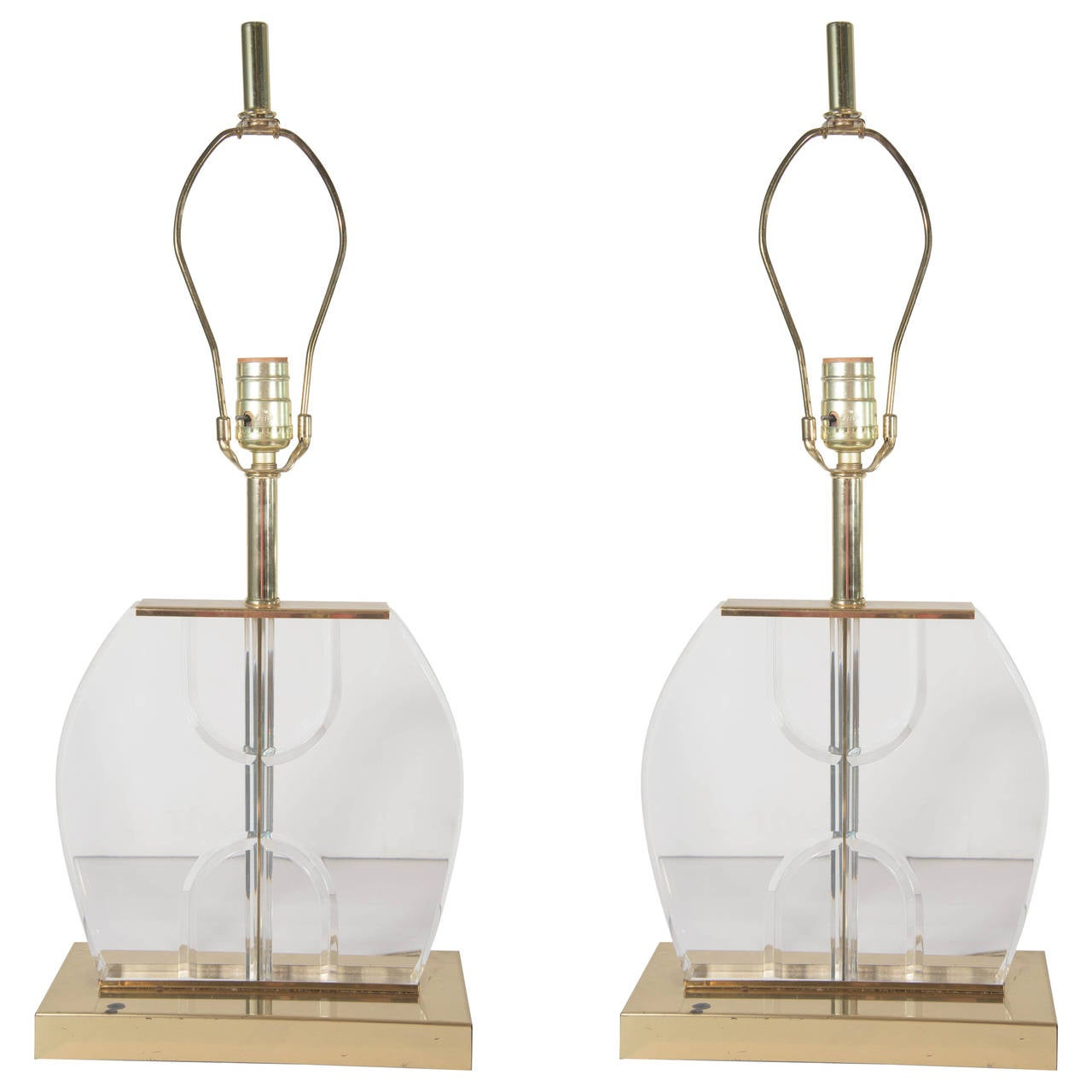 Pair of 1970's Table Lamps in Lucite and Brass