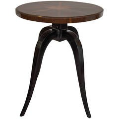 Midcentury Art Deco Side Table with Burl Wood Top and Ebonized Tripod Legs