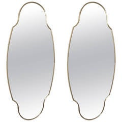 Pair of Midcentury Ogee Framed Brass Wall Mirrors