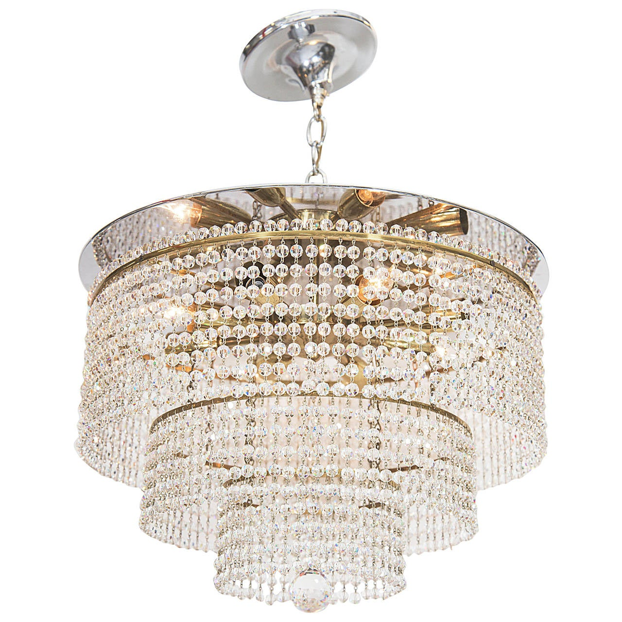 Italian midcentury waterfall chandelier with swarovski crystal beads at 1stdibs - Chandelier glass beads ...