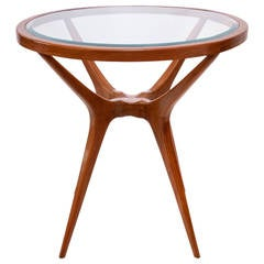 Scapinelli Inspired Round Glass Top Side Table in Brazilian Cumaru Wood