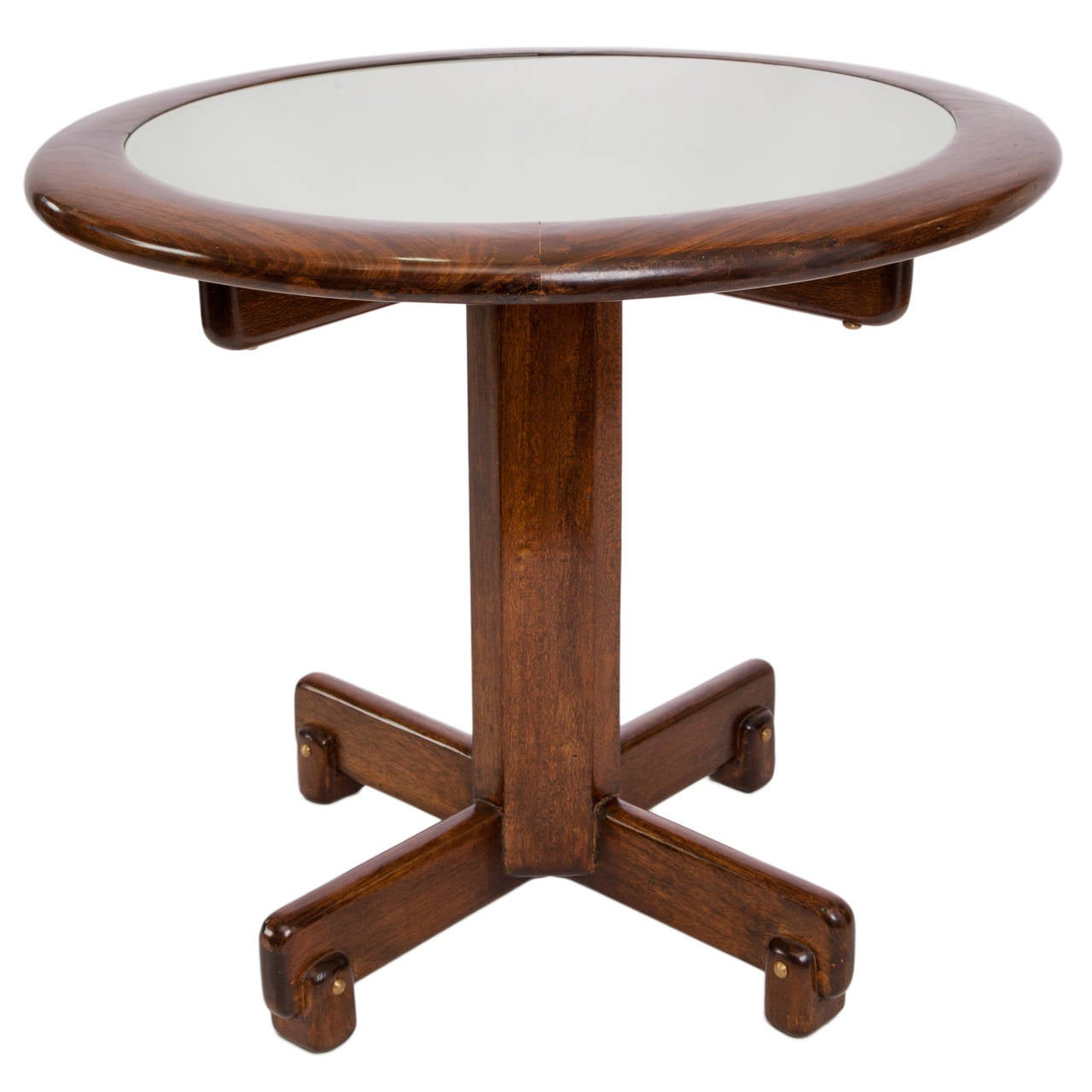 Celina Moveis Round Side Table in Brazilian Jacaranda Wood with