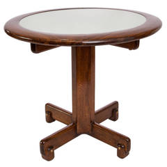 Celina Moveis Round Side Table in Brazilian Jacaranda Wood with Glass Top