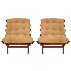 Pair of Rib Chairs in Brazilian Imbuia & Suede, Attributed to Martin Eisler