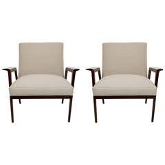 Pair of Brazilian Imbuia Wood Armchairs with Beige Linen by Gelli