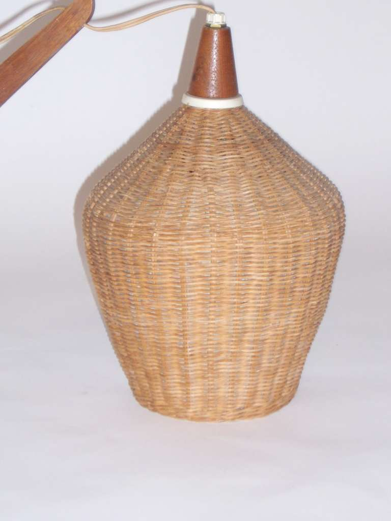 Wall Mounted Lamp Shades : A Mid Century Wall Mounted Lamp with Wicker Shade at 1stdibs