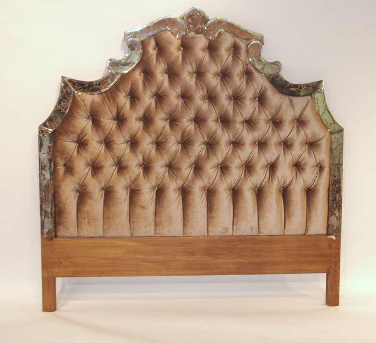hollywood regency headboard with button tufted velvet at stdibs, Headboard designs