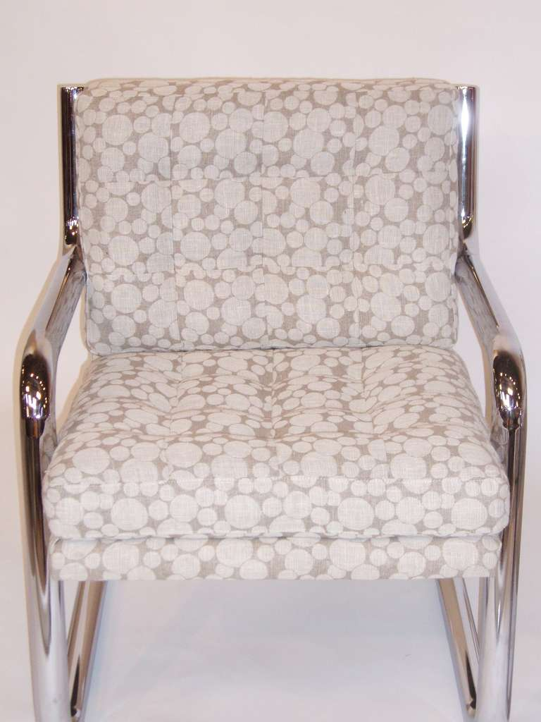 American Pair of Mid Century Chrome Frame Chairs w/ Dotted Upholstery For Sale
