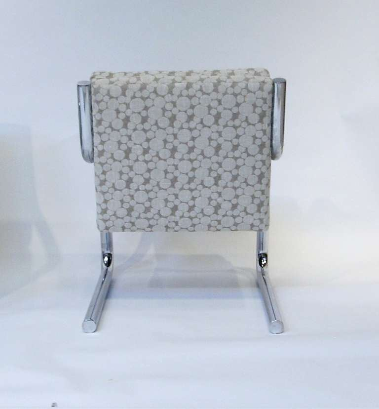 Late 20th Century Pair of Mid Century Chrome Frame Chairs w/ Dotted Upholstery For Sale