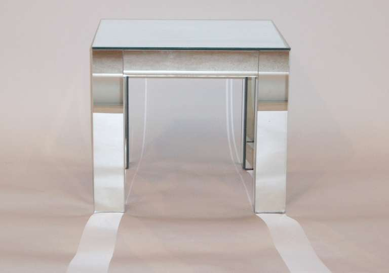 American Pair Of Vintage Parsons Style Mirrored Tables For