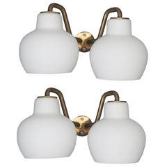 Pair of Vilhelm Lauritzen Milk Glass Double Sconces for Louis Poulsen