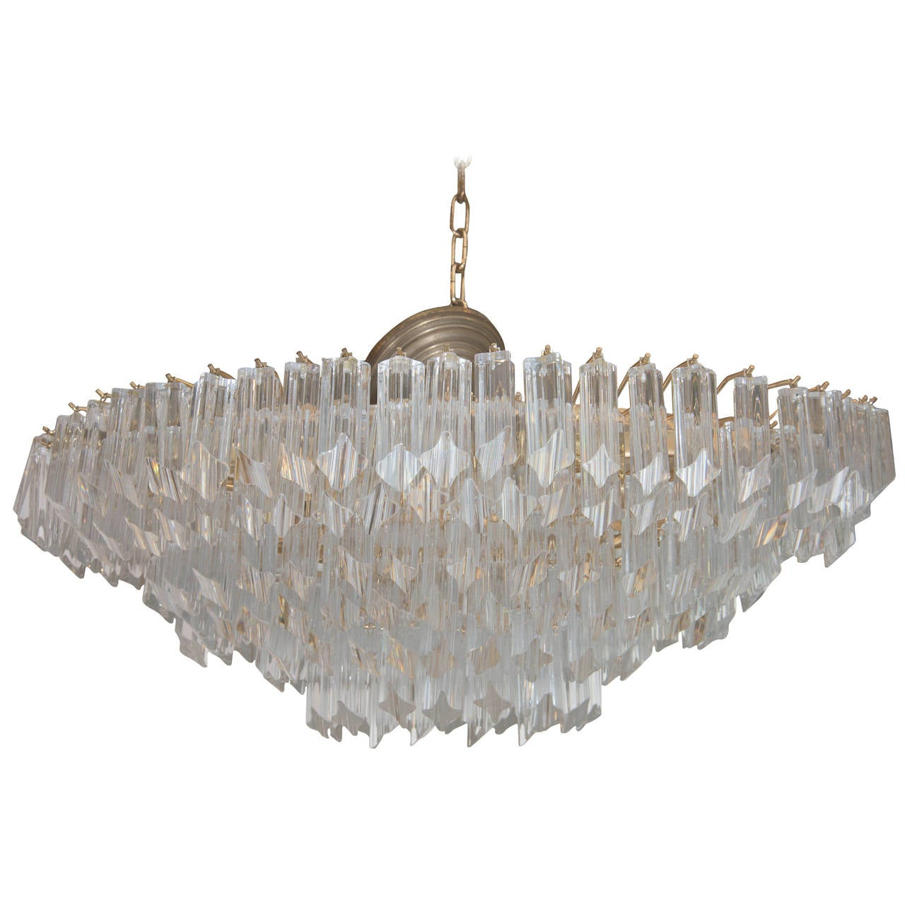Oblong Chandelier: Midcentury Multi-Tiered Crystal Glass Prism Oval
