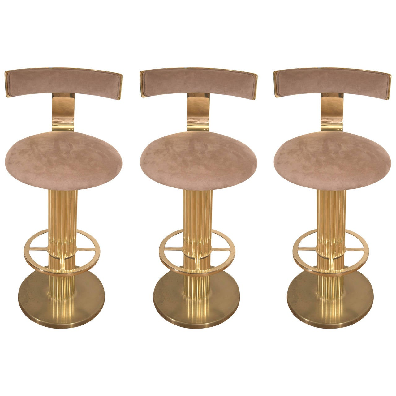 Set Of Three Excalibur Brass Bar Stools With Suede Seats