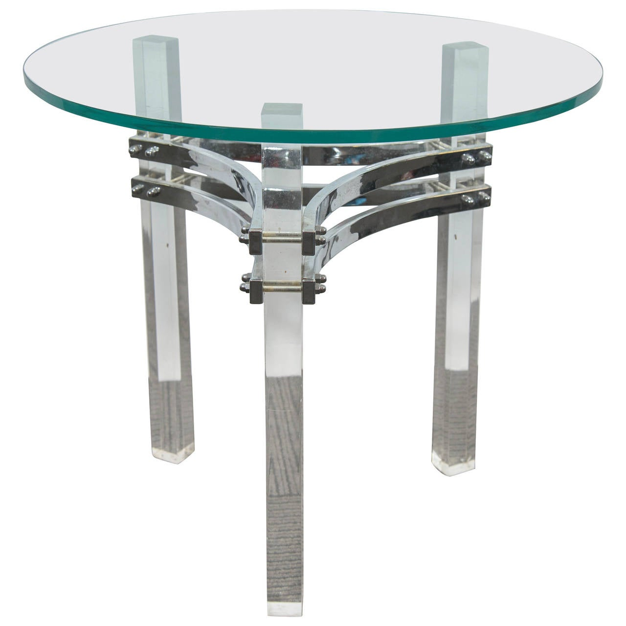 Charles Hollis Jones Glass Top Side Table with Chrome and Lucite Base For Sale