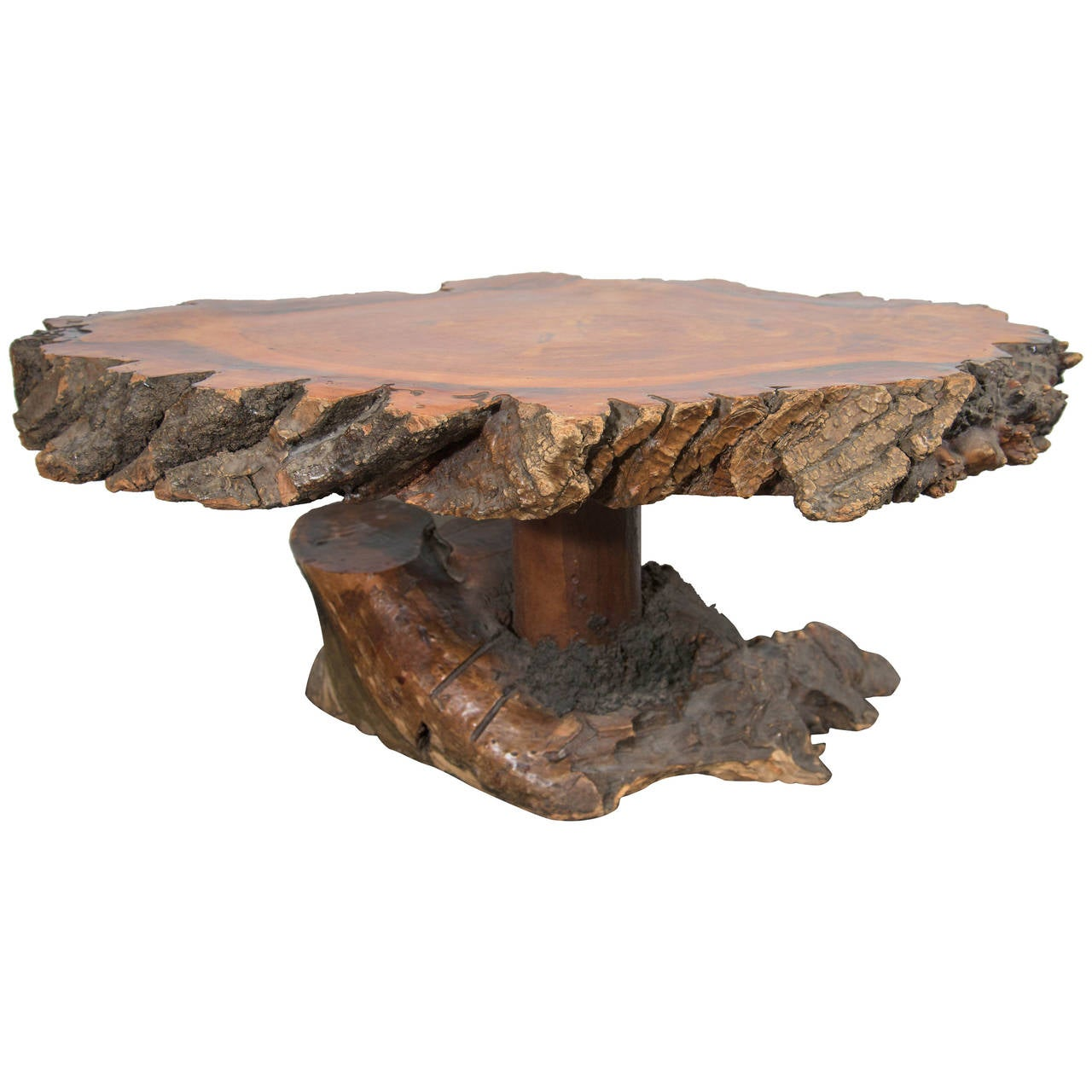 Vintage Burled Cypress Wood Live Edge Side Table For Sale at 1stdibs