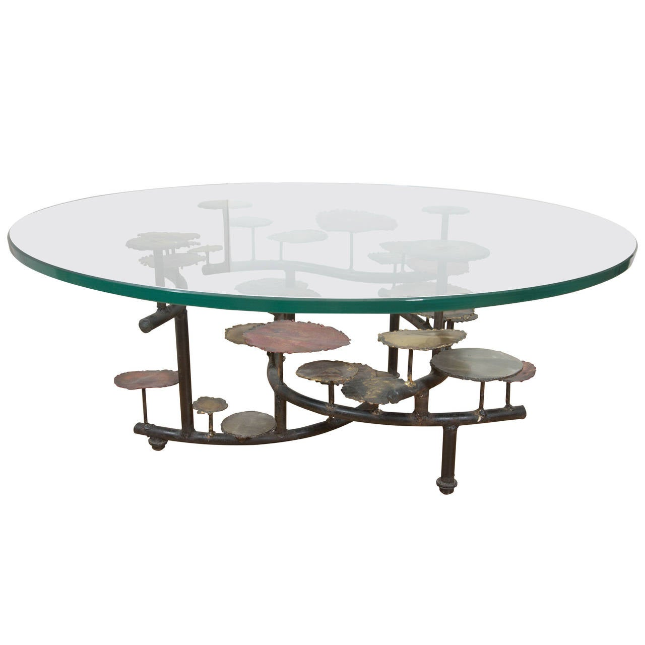 Silas Seandel Mixed Metal Lily Pad Coffee Table With Round Glass Top For Sale At 1stdibs