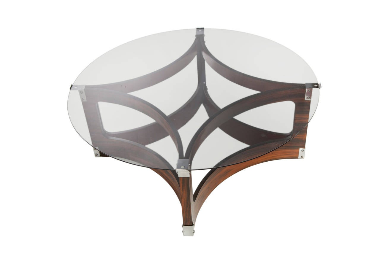 Mid-Century Modern Jorge Zalszupin Coffee Table in Jacaranda with Smoked Glass Top for L'Atelier For Sale