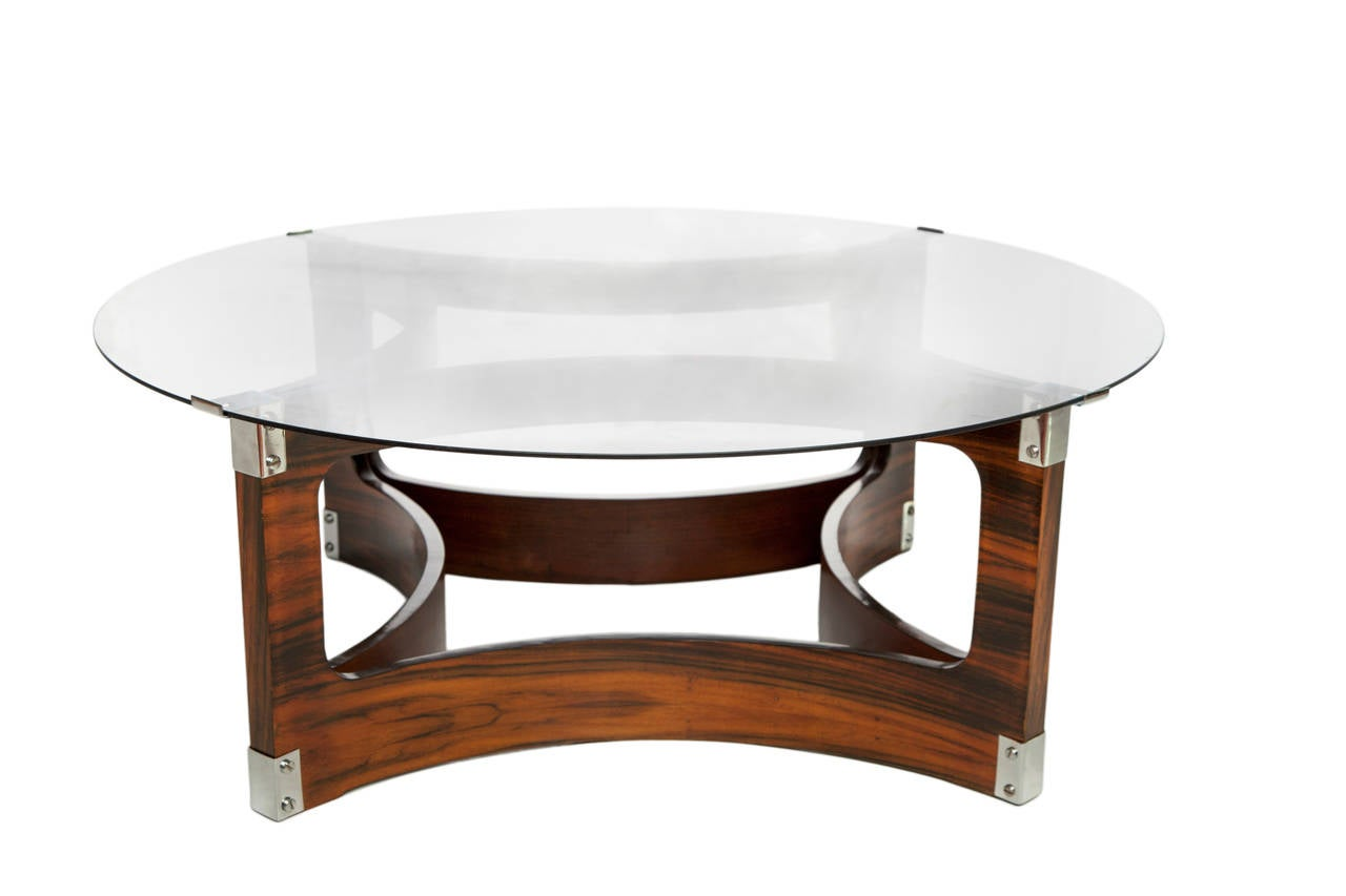 Brazilian Jorge Zalszupin Coffee Table in Jacaranda with Smoked Glass Top for L'Atelier For Sale