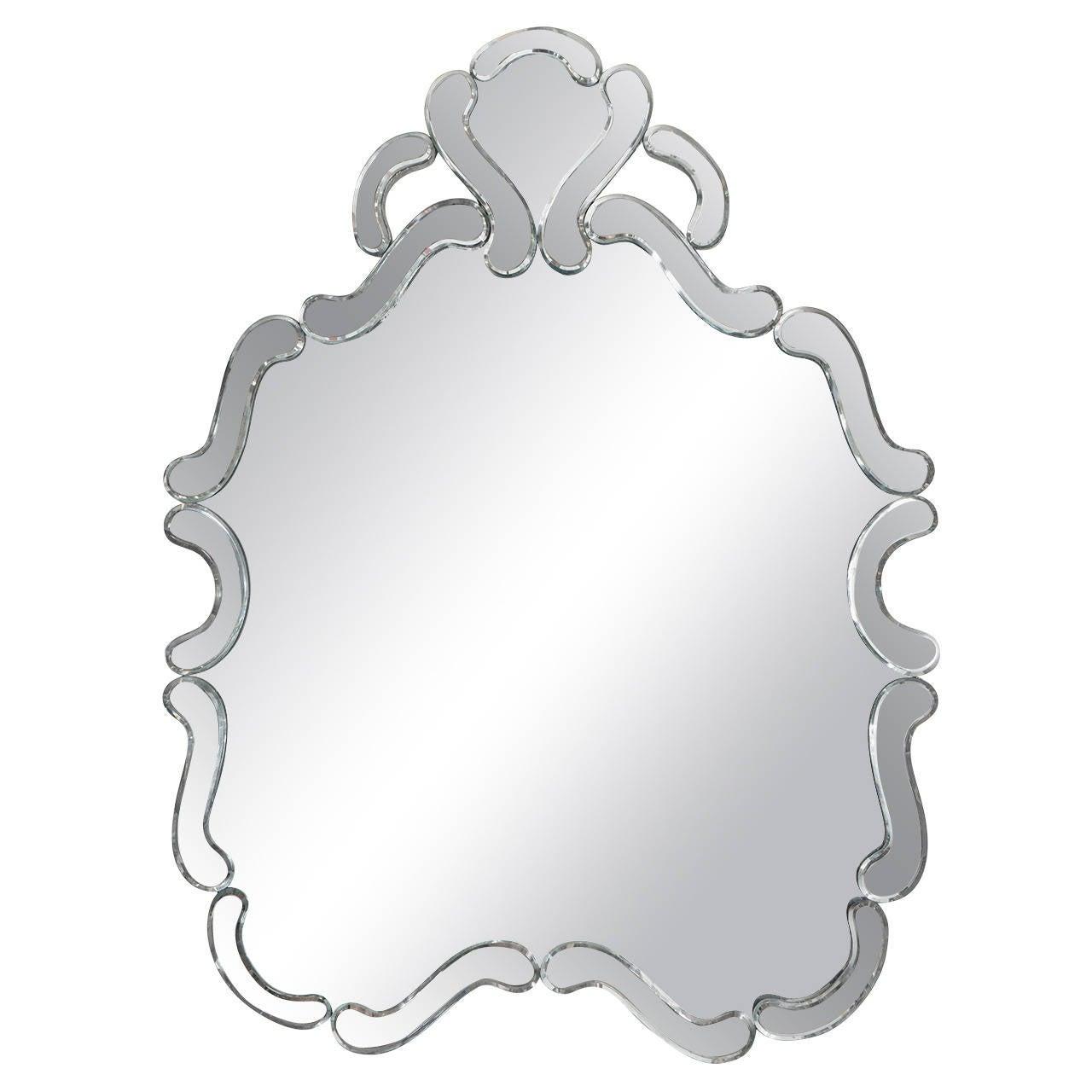 Italian Midcentury Decorative Venetian Wall Mirror