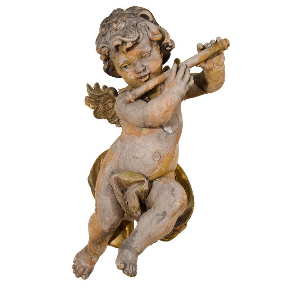 Antique Carved Wood Musical Putto Or Cherub Sculpture For