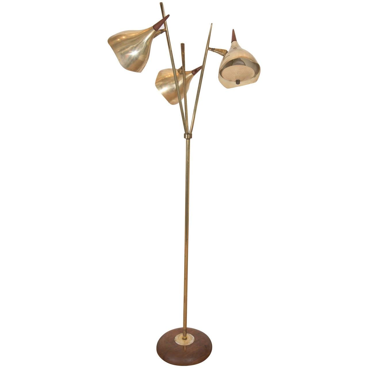 this italian stilnovo style three light floor lamp in brass with wood. Black Bedroom Furniture Sets. Home Design Ideas