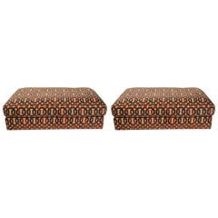 Pair of Milo Baughman Storage Ottomans with Jack Lenor Larsen Upholstery
