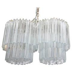 Venini Two-Tier Double Chandelier with Glass Triedri Prisms