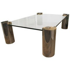 Karl Springer Glass Top Coffee Table with Cylindrical Chrome and Brass Legs
