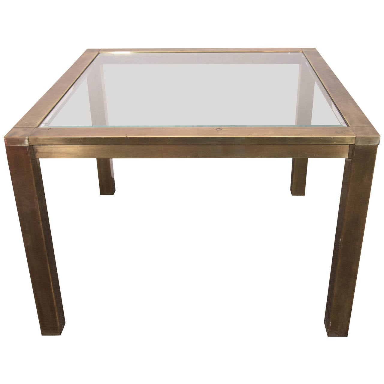 Mastercraft brass side and end table with glass top at 1stdibs for Glass end tables
