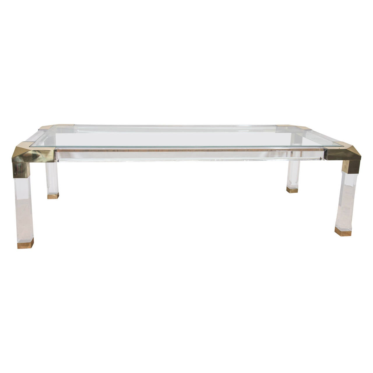 Charles Hollis Jones Style Coffee Table With Lucite Frame