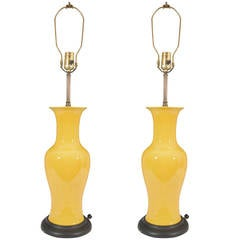 Pair of Mid-Century Yellow Ceramic Chinese Ginger Jar Table Lamps