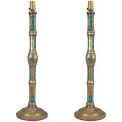 Pair of Pepe Mendoza Faux Bamboo Table Lamps in Bronze