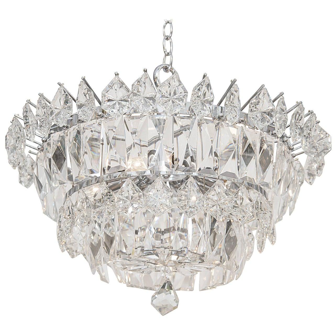 Italian Midcentury Murano Cut Crystal Chandelier