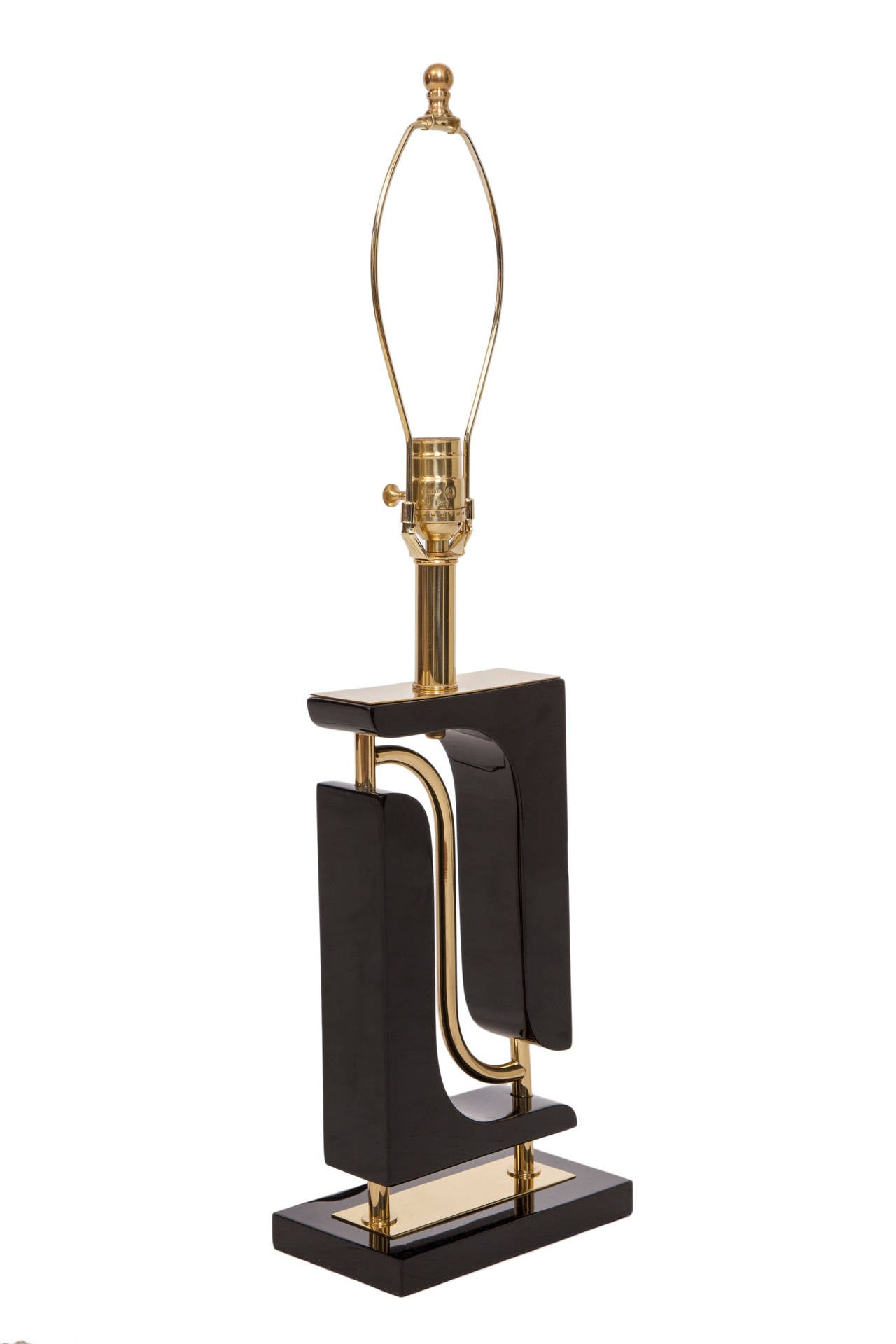 Midcentury Sculptural Table Lamp in Black Resin with Brass ...