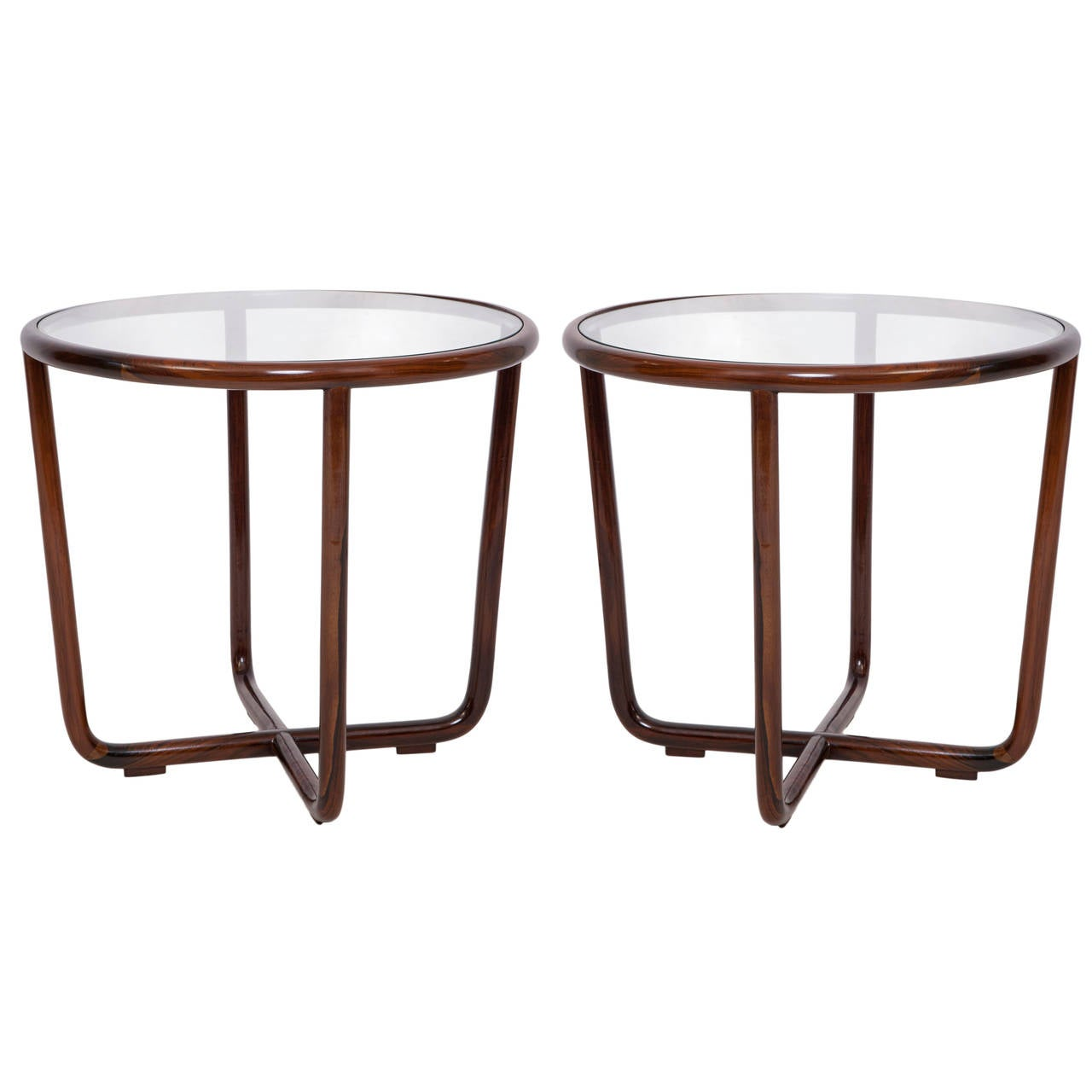Pair of joaquim tenreiro round side tables in jacaranda for Round wood side table