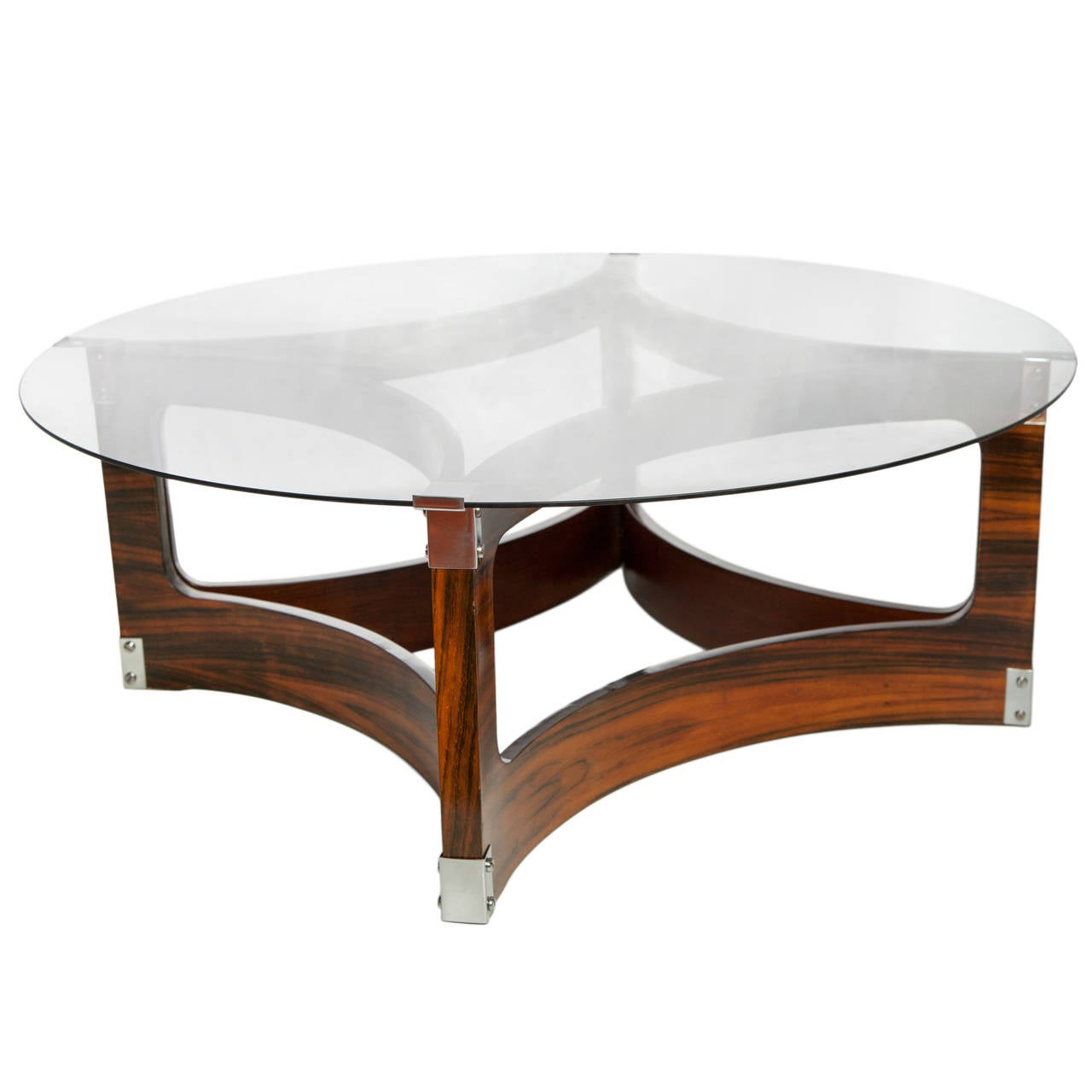 Jorge Zalszupin Coffee Table in Jacaranda with Smoked Glass Top for L'Atelier