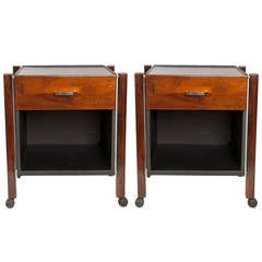 Pair of Jorge Zalszupin Side Tables in Jacaranda and Black Leather for L'Atelier