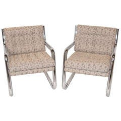 Pair of Mid Century Chrome Frame Chairs w/ Dotted Upholstery