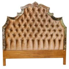 Hollywood Regency Headboard with Button Tufted Velvet
