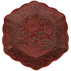 Chinese Late 18th Century Hexagonal Cinnabar Plate with Floral Detail