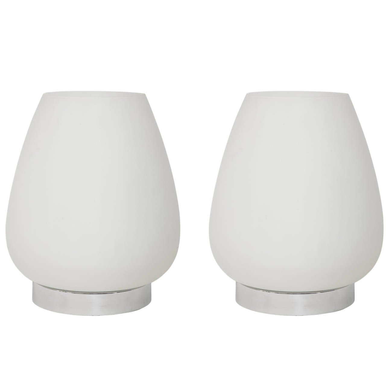 Pair of Opaline Glass Rounded Table Lamps