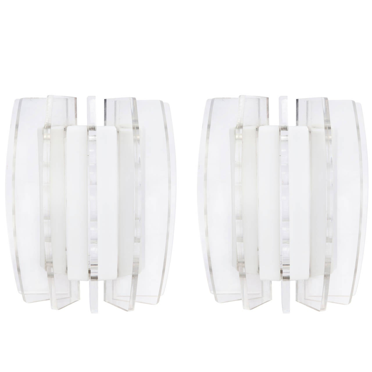 Pair of Dominici Modernistic Sconces in Acrylic